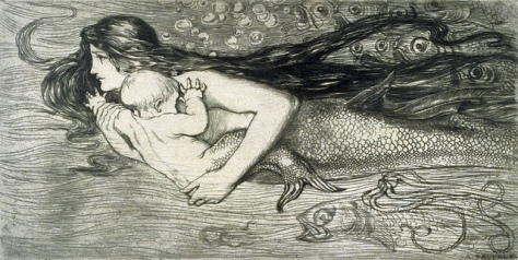 "Amelia Bauerle (Bowerley) ""Mermaid swimming with a child"""